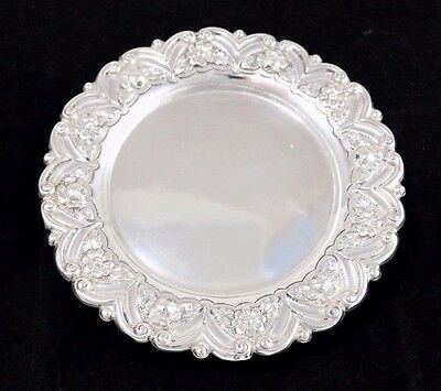 """Floral Sterling Silver Footed Round Tray 7.25"""" Wide"""