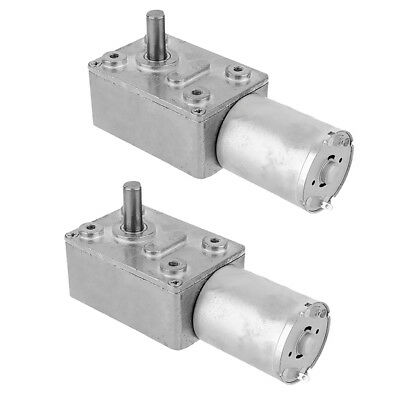Pack of 2x Gearbox Worm Gear DC Motor Reducer 12V High Torque Turbine 30RPM