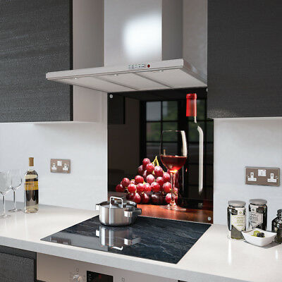 Wine and Grapes Glass Splashback Fixing Holes - 80cm Wide x 70cm High
