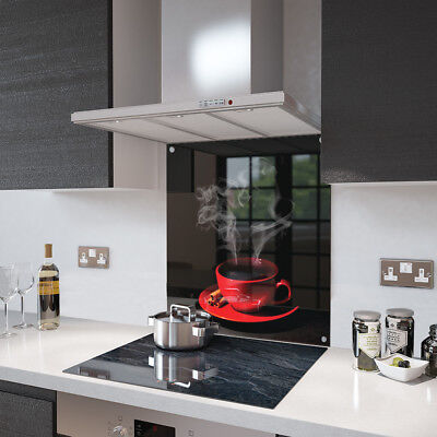 Red Coffee Cup Glass Splashback Fixing Holes - 90cm Wide x 65cm High