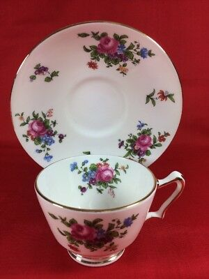 Crown Staffordshire Pedestal Cup and Saucer~Fine Bone China~England