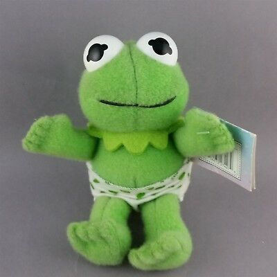 kermit plush bean bag doll with frog footprint diaper muppet babies