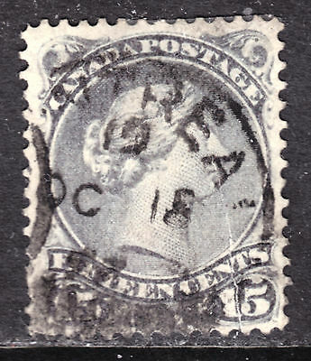 CANADA #30 15c GREY, 1868 LARGE QUEEN, F, MONTREAL '97 CDS