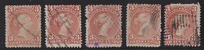 Lot 5 stamps #25 Large Queen 3c  Canada used