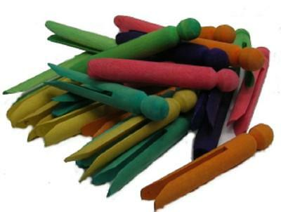 48 Wooden Dolly Pegs 2x24 packs Coloured / Mixed Coloured / Kids Craft