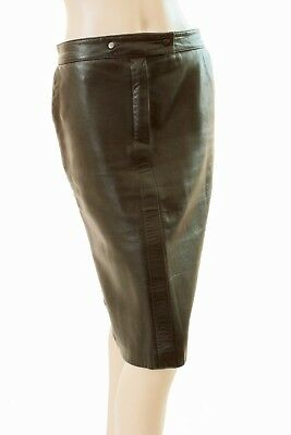 Yves Saint Laurent Brown Leather Skirt Vintage 70s Size M