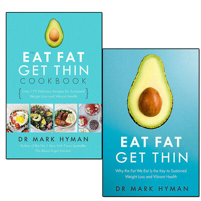 Mark Hyman Eat Fat Get Thin 2 Books Set Sustained Weight Loss & Vibrant Health
