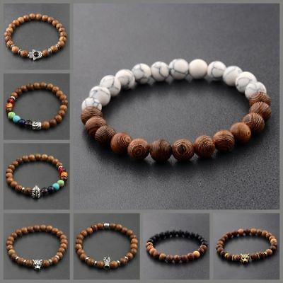 8MM Wooden Beaded Crown Buddha Lion Beaded Bracelet Jewelry Stretch Bangle New