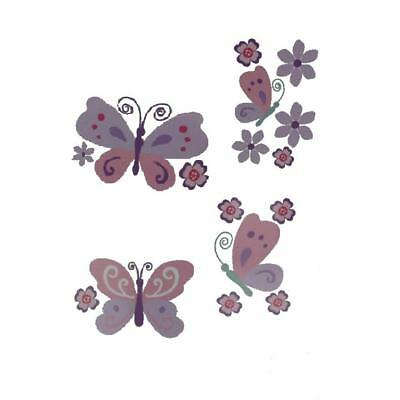 """Babies""""R""""Us 2937 Pink Butterfly/Floral Baby Girls Nursery Wall Decal Set BHFO"""