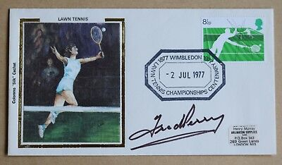 Tennis Wimbledon 1977 Pair Of Benham Covers Signed By Fred Perry & Virginia Wade