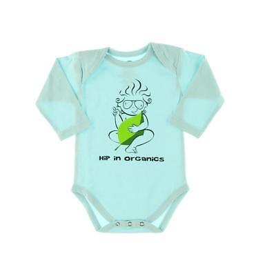 The Green Creation 7401 Blue Organic Cotton Hip Baby Bodysuit 6-12 MO BHFO