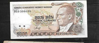 Turkey #198 1990 Vf Circulated 5000 Lira Old Banknote Paper Money Currency Note