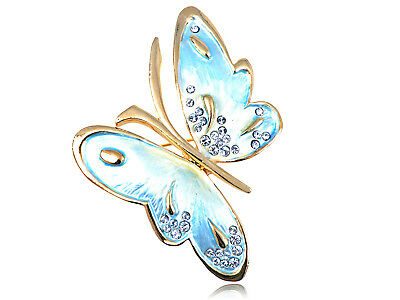 Crystal Elements Pearlescent Asymmetrical Flutter Butterfly Pin Brooch ALA