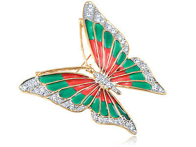 Crystal Elements Fire n Earth Fluttering Butterfly Fashion Pin Brooch