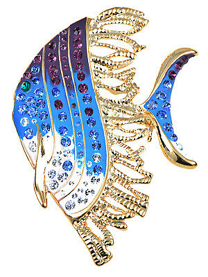 Crystal Elements Blue Purple Paint Tropic Angelfish Fashion Pin Brooch