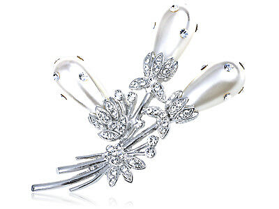 Crystal Elements Faux Pearl Bouquet of Pond Reeds Fashion Pin Brooch