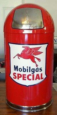 New Mobilgas Special Shield Garbage Trash Waste Receptacle Can Red -  Free Ship*