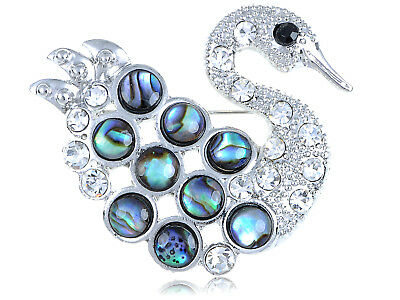 Silver Tone Abalone Shell Bubble Clear Swan Bird Black Rhinestone Eye Pin Brooch