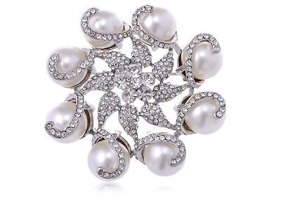 Silver Tone Crystal Rhinestone Faux Pearl Flower Swirl Wreath Pin Brooch