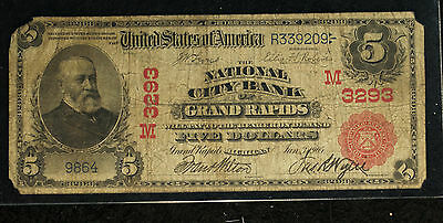 $5 National City Bank of Grand Rapids MI - 1902 Red Seal Note - Charter # 3293