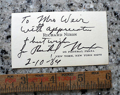 AUTHENTIC President Richard Nixon Signed Autographed BUSINESS CARD 1984 - Bold