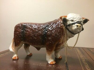 Vintage Melba Ware Ceramic Butchers Shop Bull Figurine With Brass Details