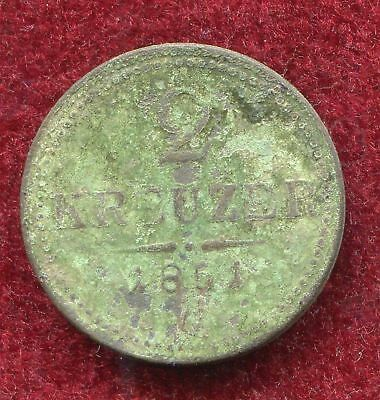 "Austria Transylvania 1851 2 Kreuzer ""G"" rare unclean copper coin natural patina"