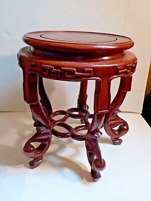 ornate wood stand reddish brown table #5488 NOS