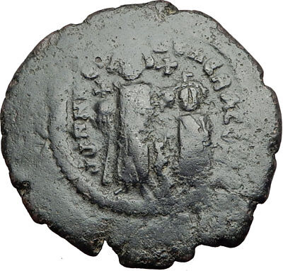 HERACLIUS & Son H Constantine Genuine 610AD Ancient Byzantine Follis Coin i65034