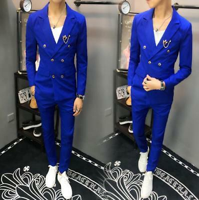 Mens Double breasted Blazers Suit Lapel Coat Slim Fit Jacket Casual Pants 2 Pcs