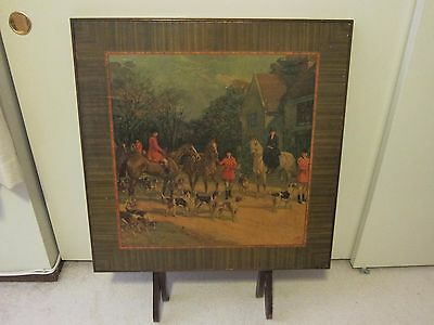 Vintage Antique Folding Card Table with Picture of Hunting Scene