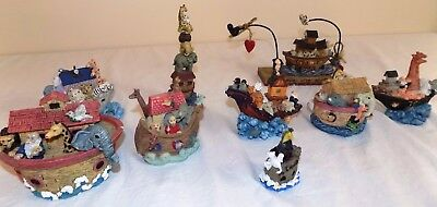 NOAH'S ARK Lot 9 Trinket Boats Figurine Collectible Bible Decor Baby Nursery