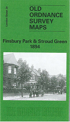 Old Ordnance Survey Map Finsbury Park Stroud Green 1894 Crouch End Fonthill Road
