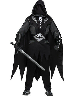 Evil Knight Black Renaissance Medieval Mens Halloween Costume-STD