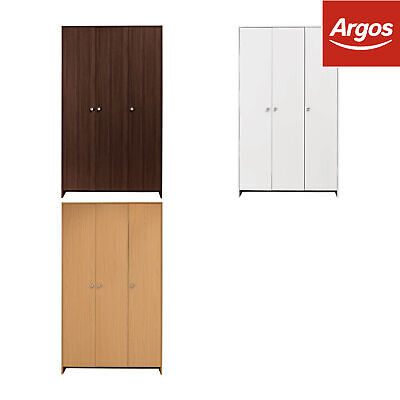 HOME Seville 3 Door 2 Shelf 1 Rail Wooden Wardrobe - Choice of Colour-From Argos