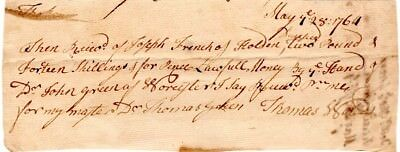 1764, Indentured servant, receives payment for his master, Leicester, Mass