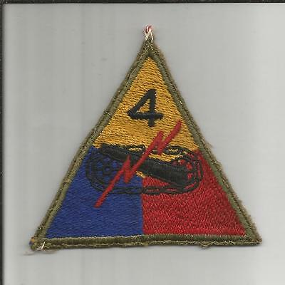 Theater Made Off Uniform 2 US Army 4th Armored Division Patch Inv# JR486
