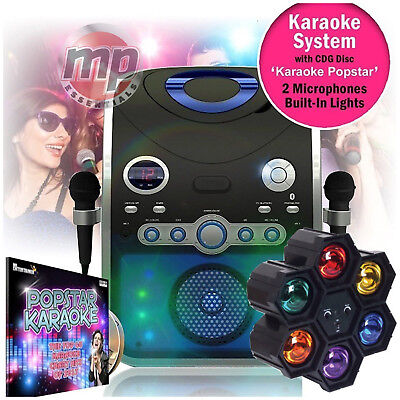 Entertainer CDG Karaoke Machine with Bluetooth & Microphones + 6 Way Disco Light