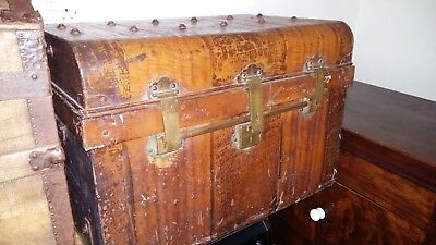 Edwardian Japanned Tin Trunk With Lovely Brass Work Ideal For Storage