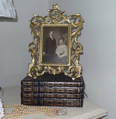 Ornate Victorian Gold Cast Iron Frame with Antique Black White Photo