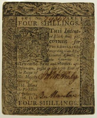 Antique Paper US COLONIAL Currency FOUR SHILLINGS 1776 Printed by James Adams