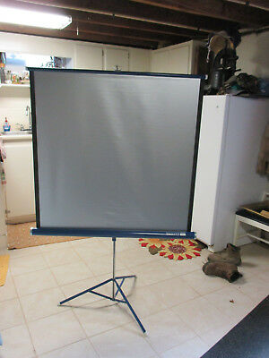 "Vintage Da-Lite Silver Flyer Projector Screen Tri-Pod Blue 40"" x 40"""