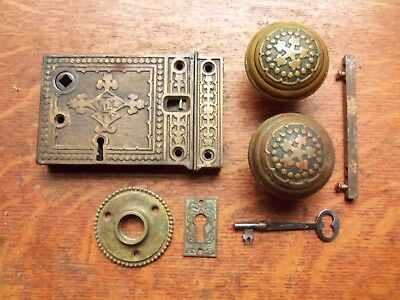 "Antique Ornate Rim or Box Lock Door Set ""Century"" Russell & Erwin c1900"