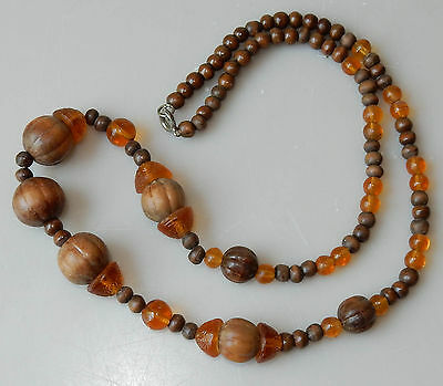 "Vintage Antique Victorian Fancy Amber Glass Wood Seed Beads Strand 20"" Long #266"