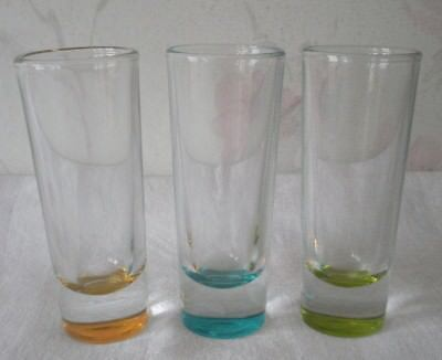 Crisa Tall Shot Glass Set of 3 Weighted Bottom Tequila Shooter Multi-Color Bases