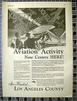 1930 Los Angles County Business Commerce Travel Plane Port Aviation Ad Fa137