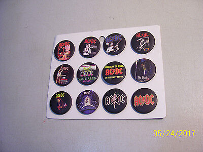 """Carded Lot of 12 Different Brand New 1 1/4"""" AC/DC Pin Back Buttons"""