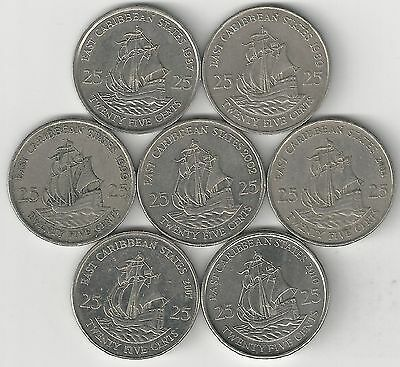 7 - 25 CENT COINS w/ SHIPS.the EAST CARIBBEAN STATES.1987/89/99/2002/04/07/10