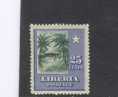 """Liberia 1909 official, 25c village, """"OS"""" MISSING, NH #O65"""
