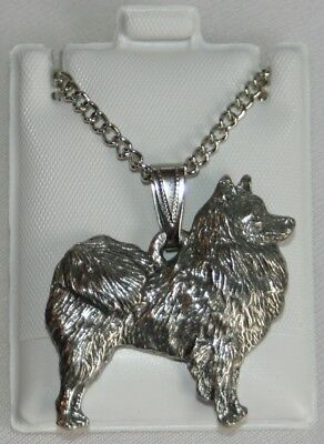 American Eskimo Dog Harris Fine Pewter Pendant w Chain Necklace USA Made